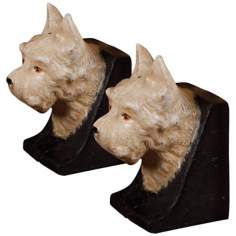 Set of 2 Cast Iron Cream Westie Dog Bookends
