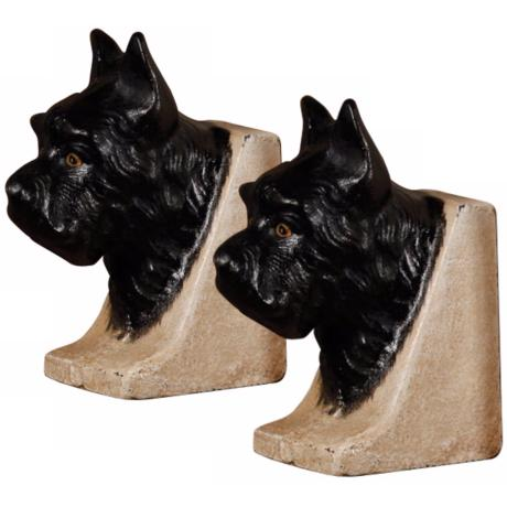 Set of 2 Cast Iron Black Scottie Dog Bookends