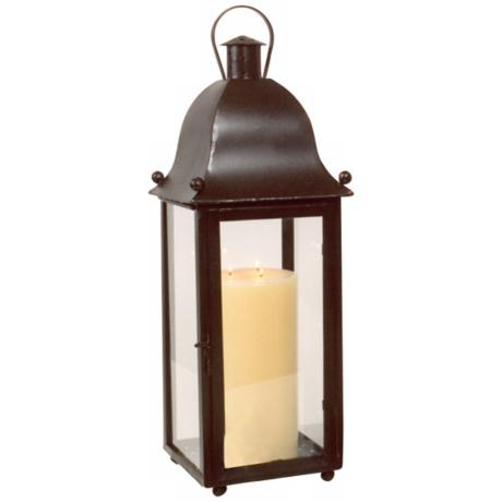 Hand-Forged Iron Grande San Juan Lantern With Rust Finish