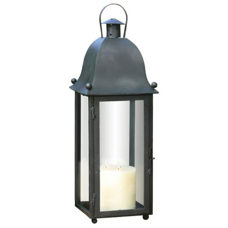 "Grande San Juan Black 30"" High Candle Lantern."