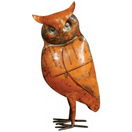 Handcrafted Reclaimed Metal Owl Sculpture