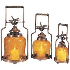 Set of 3 Amber Glass Dragonfly Nested Lanterns