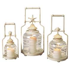 Set of 3 Frosted Globe Shell Lanterns