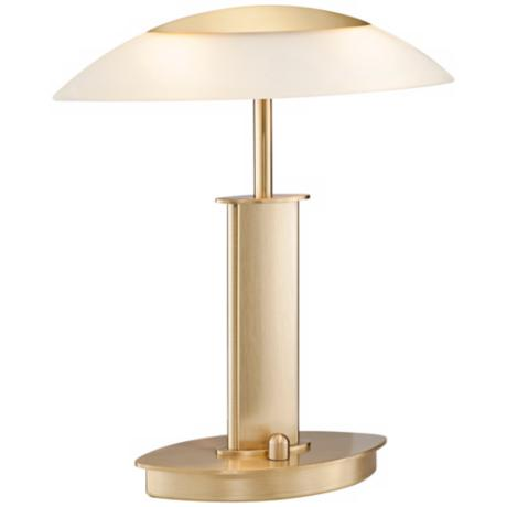 Mini Brushed Brass and Champagne Glass Holtkoetter Desk Lamp