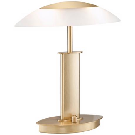 Mini Brushed Brass and Satin Glass Holtkoetter Desk Lamp