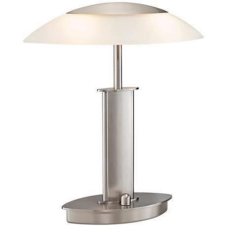 Mini Satin Nickel and Champagne Glass Holtkoetter Desk Lamp