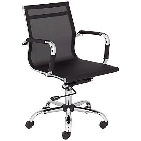 Lealand Black and Chrome Low Back Desk Chair