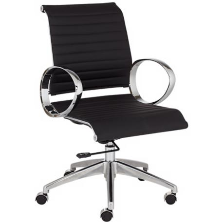 Linear Black and Chrome Low Back Desk Chair