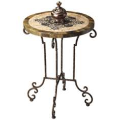 Metalworks Antiqued Etched Fossil Stone Accent Table