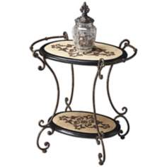 Metalwork Fossil Stone and Black Oval Accent Table