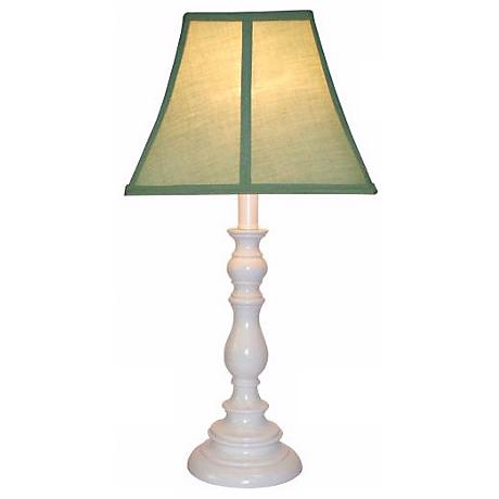 Sage Shade with White Candlestick Base Table Lamp