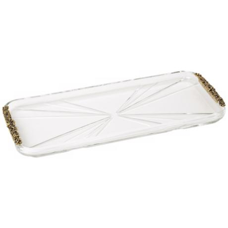 Gold Accent Genuine Crystal Vanity Tray