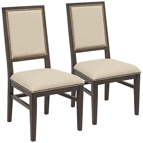 Set of 2 Dexter Rustic Java Acacia Wood Dining Chairs