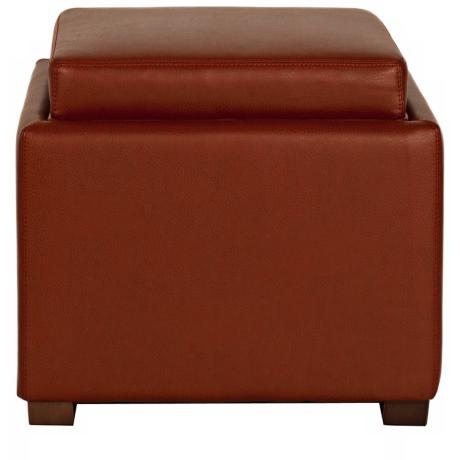 Dylan Cranberry Bonded Leather Storage Ottoman
