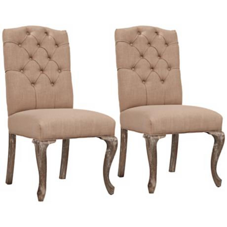 Set of 2 Gloster Barley Button Tufted Dining Chair