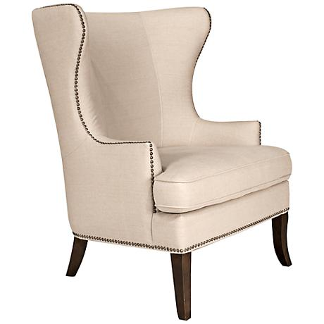 Grant Oatmeal Linen Wingback Chair