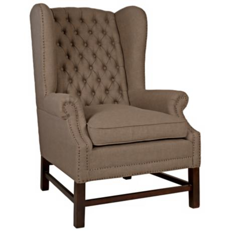 Haven Oak Fabric Button Tufted Club Chair