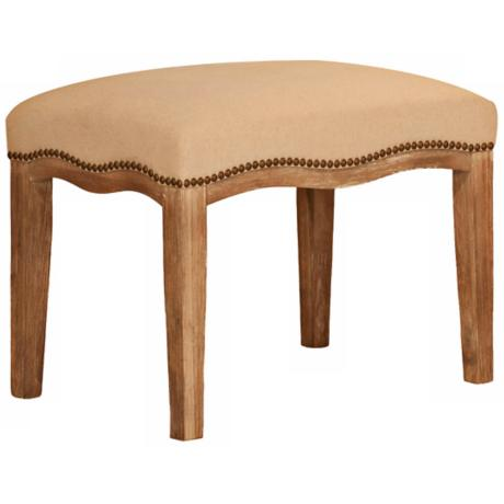 Hudson Solid Wood and Natural Fabric Dressing Stool