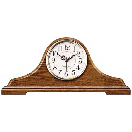 "Oak Tambour with Chime 16 1/4"" Wide Clock"