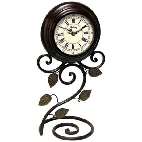 "Iron Perennial 17 1/2"" High Tabletop Clock"