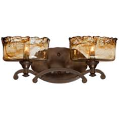 "Bronze Art Glass 2-Light 17 3/4"" Wide Bath Light Fixture"