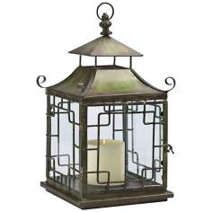 Pagoda Verde Iron and Glass Candle Lantern