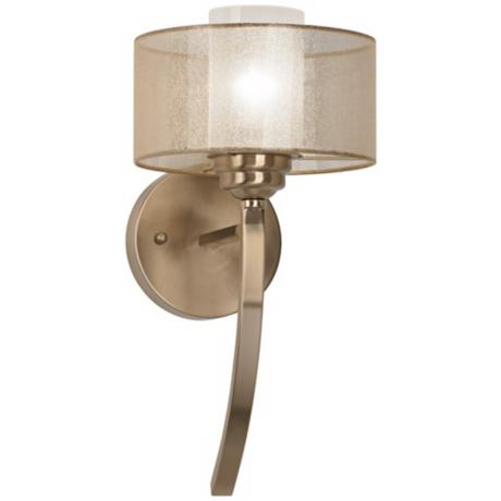 "Possini Euro Alecia 8"" Wide Satin Brass Wall Sconce"