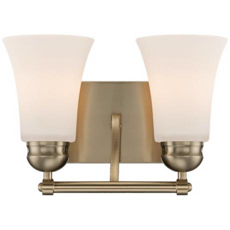 "White Glass 12"" Wide Brushed Brass Bathroom Light Fixture"