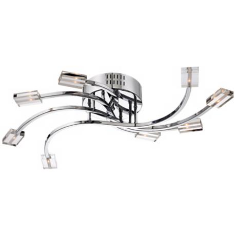 "Clear Glass and Chrome 8-Light 31 1/2"" Wide Ceiling Light"