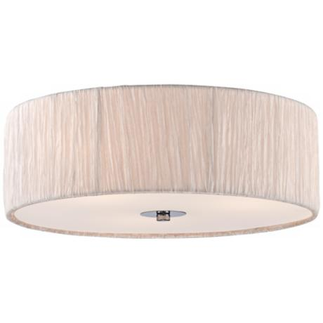 "Possini Euro 16"" Wide Ivory-White Flushmount Ceiling Fixture"