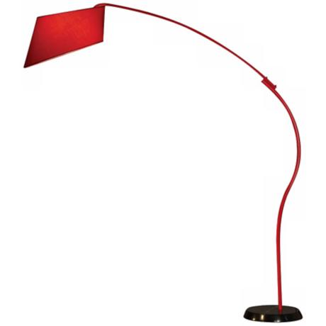 Nova Red and Black Ibis Arc Floor Lamp
