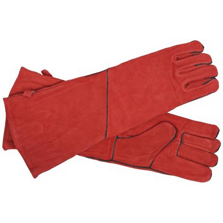 Red with Black Trim Long Suede Hearth Gloves
