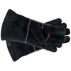 Black with Red Trim Small Suede Hearth Gloves