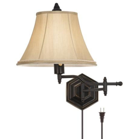 hexagon swing arm plug in wall lamp u8596. Black Bedroom Furniture Sets. Home Design Ideas