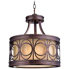"Golden Bronze 15"" Wide Convertible Pendant Light"