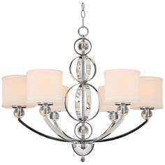 "Cerchi Chrome and Etched Opal Glass 28 1/2"" Wide Chandelier"