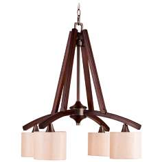 "Geller 4-Light 27 1/4"" Wide Mahogany Wood Chandelier Light"