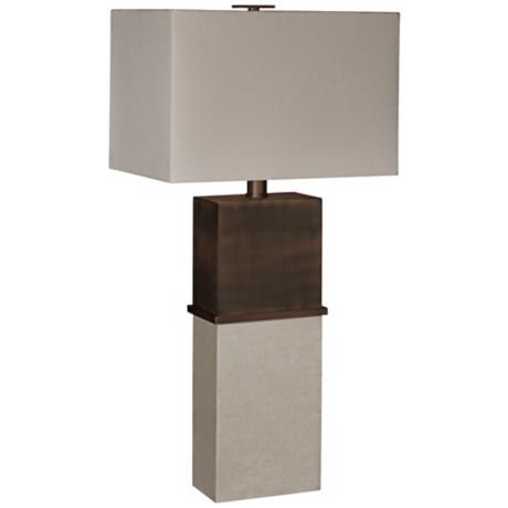 Thumprints Tuscany Off White Rectangular Shade Table Lamp