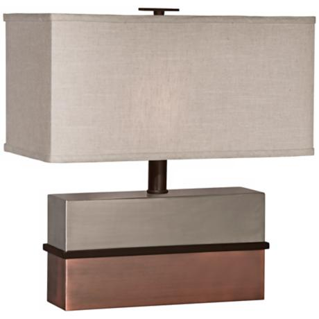 Thumprints Capricorn with Linen Rectangular Shade Table Lamp