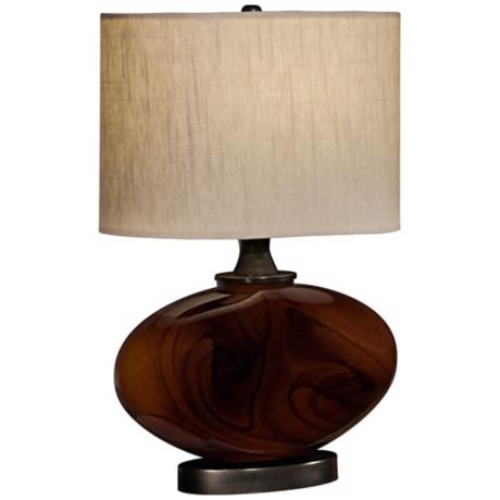 Thumprints Burlwood Amber Accent Table Lamp