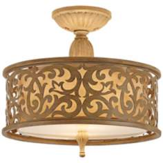 "Carabel Brushed Champagne 14 3/4"" Semi-Flush Ceiling Light"
