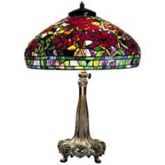 Red Peony Replica Bronze Dale Tiffany Table Lamp