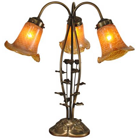 Tulip 3-Light Antique Gold Dale Tiffany Table Lamp