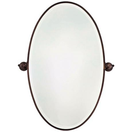 "Minka 36"" High Oval Brushed Bronze Bathroom Wall Mirror"