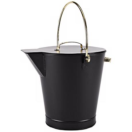 Black with Brass Handles Fireplace Ash Bucket With Lid