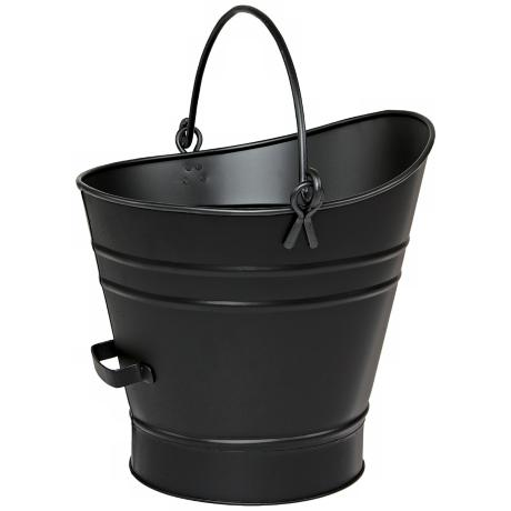 "Black 14"" High Iron Coal Hod or Pellet Bucket"