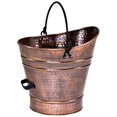 "Antique Copper 14"" High Iron Coal Hod or Pellet Bucket"