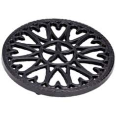 Sunburst Black Round Cast Iron Trivet