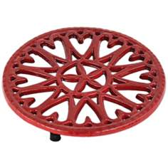 Red Sunburst Round Cast Iron Trivet