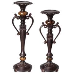 Set of 2 Kathy Ireland Amor Marble Pillar Candle Holders